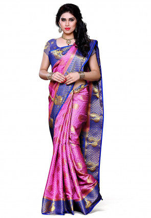 Woven Kanchipuram Silk Saree in Pink