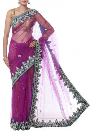 Hand Embroidered Net Saree in Purple