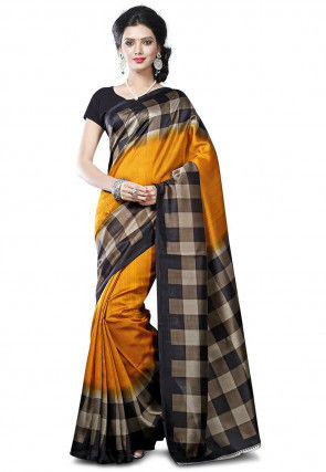 Woven Tussar Silk Saree in Mustard