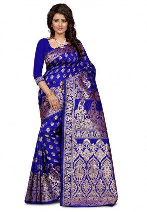 Woven Tussar Silk Saree in Royal Blue