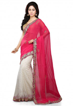 Half N Half Chiffon and Net Saree in Pink and Off White