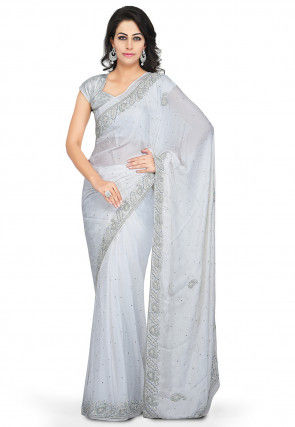 Embroidered Crepe Jacquard Saree in White
