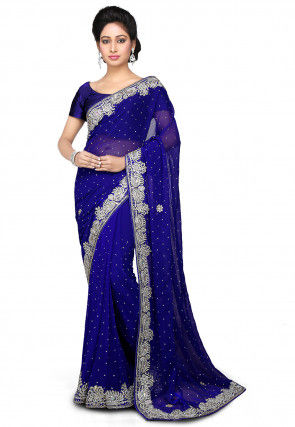 Embroidered Chiffon Saree in Royal Blue