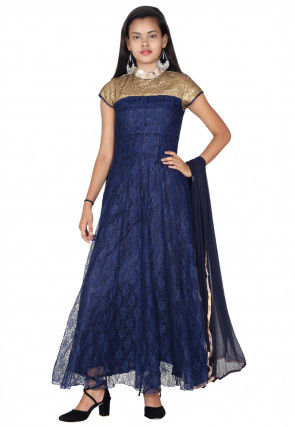 Sequinced Chantelle Net Abaya Style Suit in navy blue