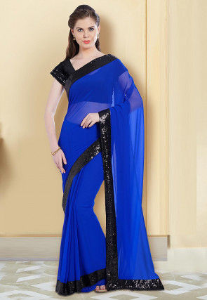Sequined Contrast Border Georgette Saree in Royal Blue