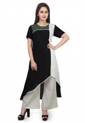 Sequined Crepe Asymmetric Kurta Set in Black and White