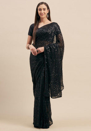 Sequined Georgette Saree in Black