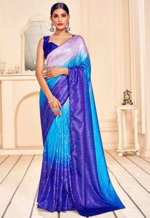 Sequinned Art Silk Saree in Blue Ombre