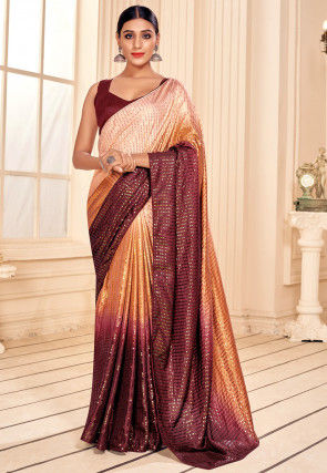 Sequinned Art Silk Saree in Peach and Maroon Ombre