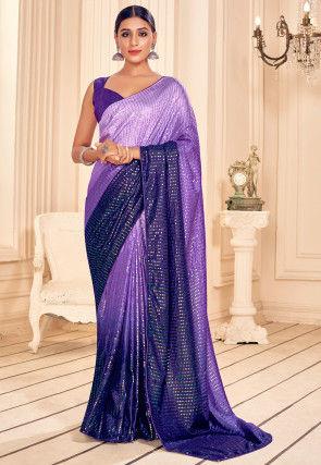 Sequinned Art Silk Saree in Purple Ombre