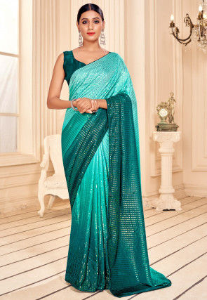 Sequinned Art Silk Saree in Turquoise Ombre