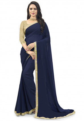 Sequinned Border Georgette Saree in Navy Blue