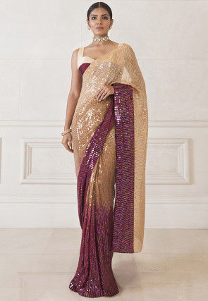 Sequinned Georgette Saree in Beige and Wine Ombre