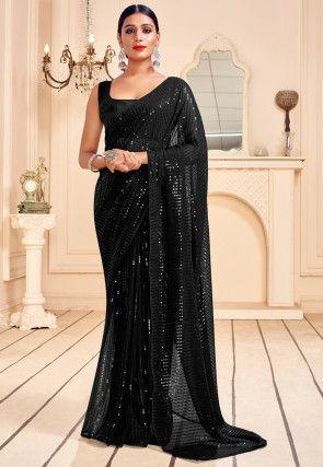 Sequinned Georgette Saree in Black
