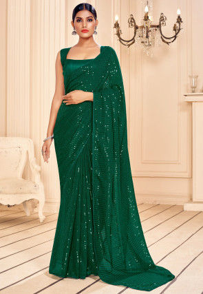 Sequinned Georgette Saree in Green