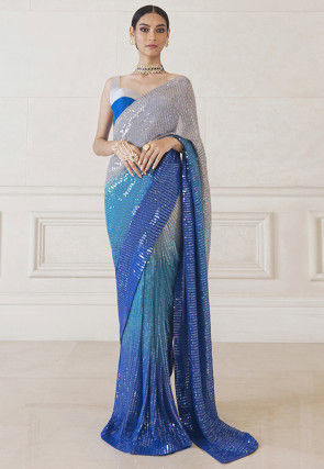 Sequinned Georgette Saree in Grey and Blue Ombre