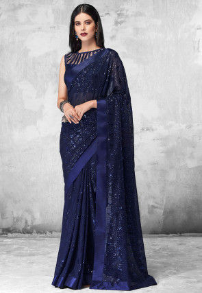 Sequinned Georgette Saree in Navy Blue