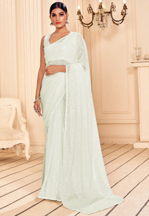 Sequinned Georgette Saree in Off White