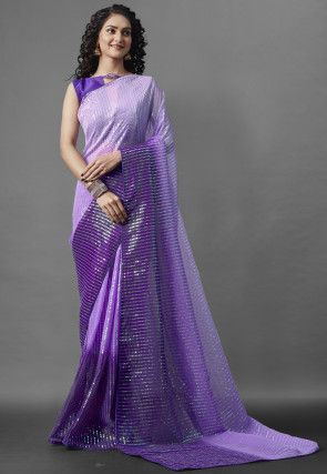Sequinned Georgette Saree in Purple Ombre