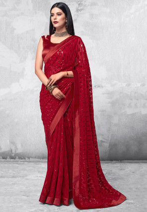 Sequinned Georgette Saree in Red