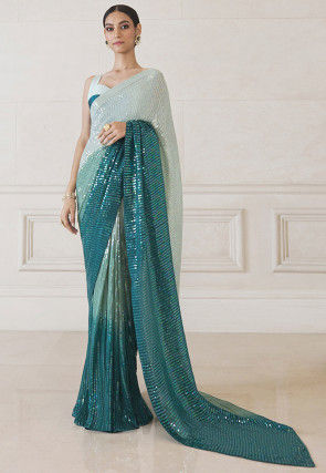 Sequinned Art Silk Saree in White and Teal Green Ombre