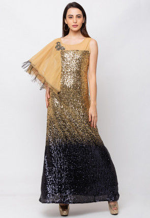 Sequinned Lycra Gown in Golden and Navy Blue