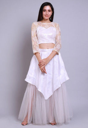 Sequinned Net Crop Top with Skirt in White