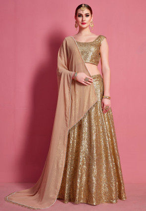 Sequinned Net Lehenga in Golden