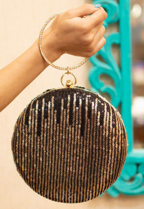 Sequinned Net Round Box Clutch Bag in Black