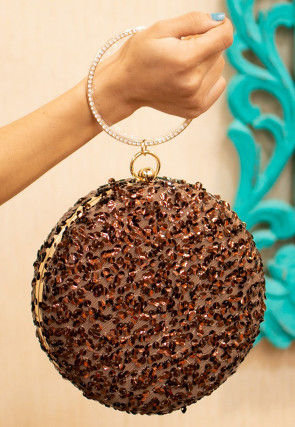 Sequinned Net Round Box Clutch Bag in Brown