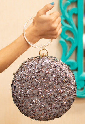 Sequinned Net Round Box Clutch Bag in Grey
