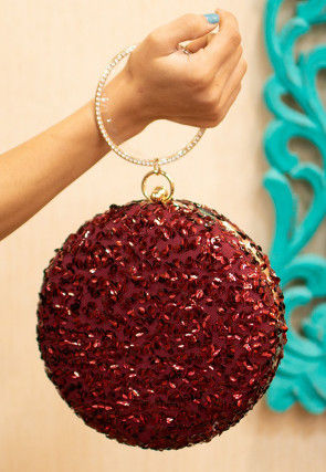 Sequinned Net Round Box Clutch Bag in Maroon