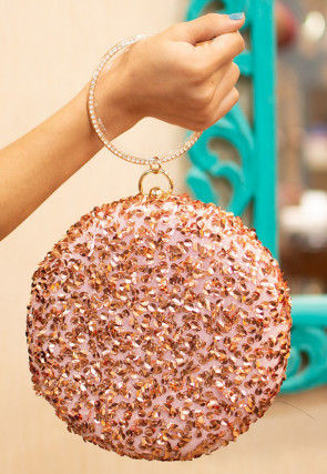 Sequinned Net Round Box Clutch Bag in Peach