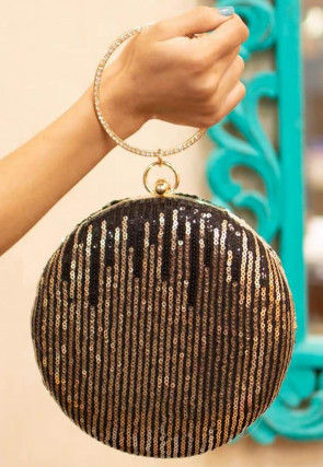 Sequinned Net Round Clutch Bag in Black and Golden