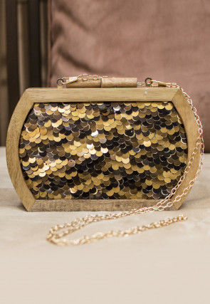 Sequinned Wooden Box Clutch in Golden