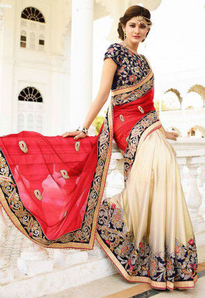 Half N Half Crepe Chiffon Saree in Coral Red and Light Beige