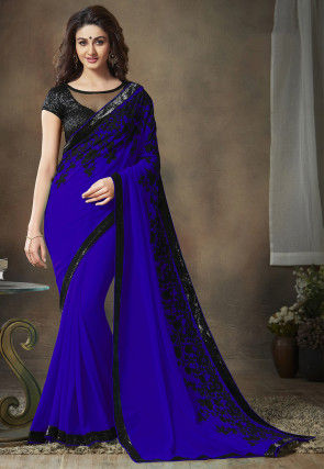 Embroidered Faux Georgette Saree in Royal Blue