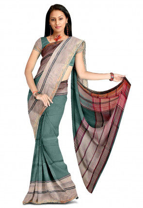 Woven South Cotton Saree in Green