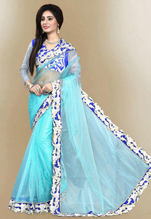 Embroidered Border Net Saree in Turquoise