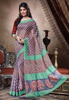 Printed Bhagalpuri Art Silk Saree in Blue and Pink
