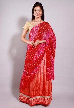 Shaded Art Silk Lehenga in Peach with Bandhej Dupatta