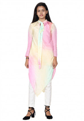 Shaded Uppada Silk Asymmteric Kurta in Multicolor