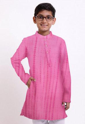 Shibhori Printed Pure Silk Kurta in Pink