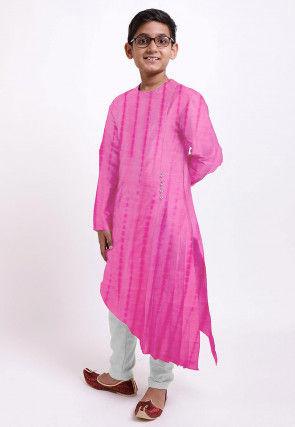 Shibhori Printed Pure Silk Kurta Set in Pink