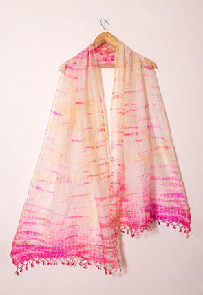 Shibhori Pure Kota Silk Dupatta in Beige and Pink
