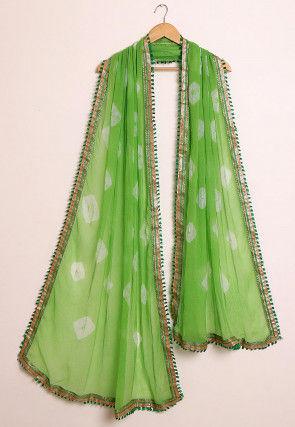 Shibori Chiffon Dupatta in Light Green