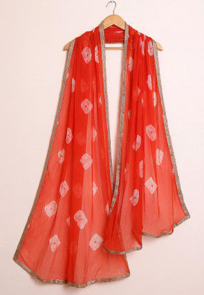 Shibori Chiffon Dupatta in Orange