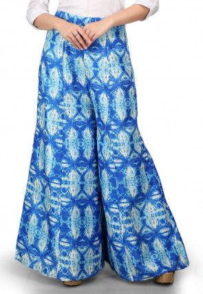Shibori Printed Bhagalpuri Silk Palazzo in Blue