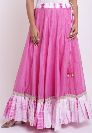 Shibori Printed Chanderi Silk Flared Skirt in Pink