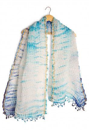 Shibori Pure Kota Silk Dupatta in Blue and Off White